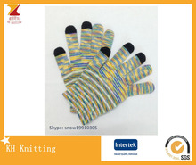 Fashion Pure Cotton Mix Color stripe Knitted Gloves,Iridescence Mittens