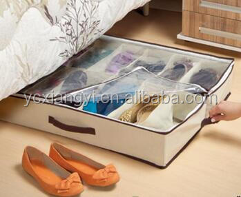 Dust Cover Shoe Bag Non woven Shoe Organizer with Transparent Lid