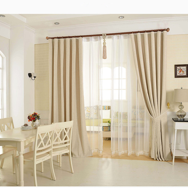 Pure white color beige Thermal Insulated Blackout Window Curtains