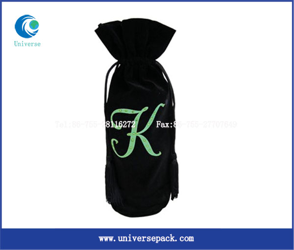 China factory velvet fabric drawstring decorate wine bag for export