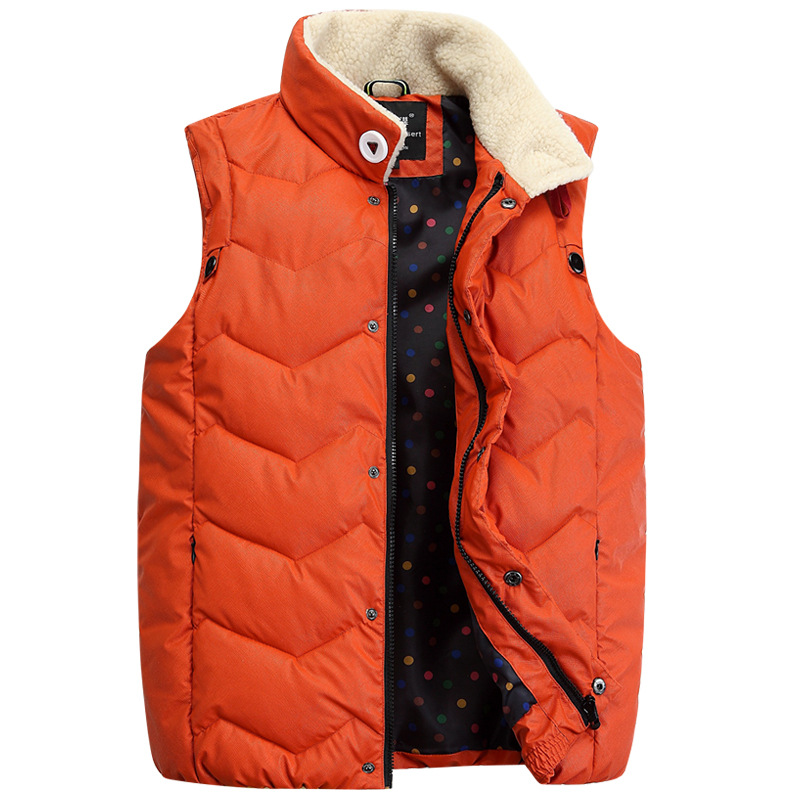 autumn winter cotton vest young men popular stand-up collar spell color casual jacket down cotton vestidos waistcoat