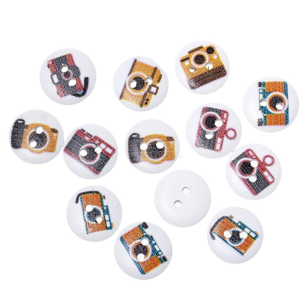 High Quality 15mm Camera Round Two Holes Wood Button for Decorating