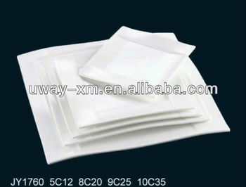 shallow white square ceramic plate for restaurant/hotel/daily use
