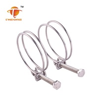 Chinese factory directly price zinc carbon steel double wire hose clamp
