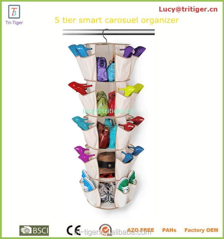 40 pockets hanging shoe organizer Smart Carousel Organizer