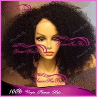 Alibaba China hot selling 100% human hair virgin mongolian kinky afro curl lace front wigs glueless for black women