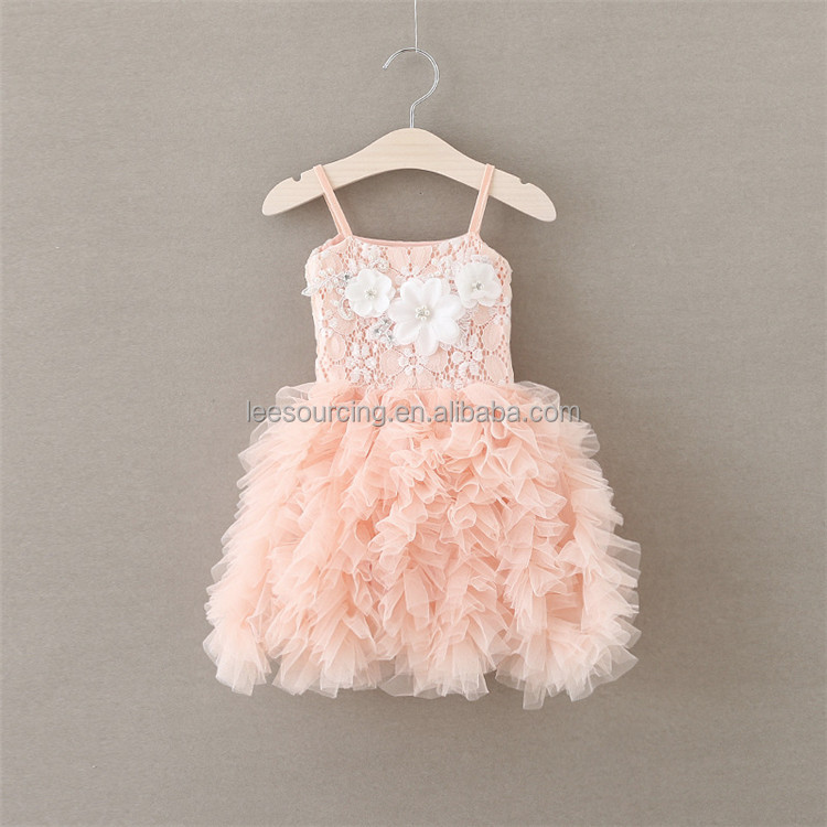 2016 Summer Spaghetti Strap Lace Floral Children Baby Girl Party Dress Tulle Tutu Princess Dresses