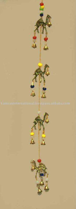Brass camel with bell wall hanging decoration