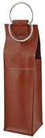 Standard Size Wine Bottles Carrier Vegan Leather Wine Bag with Metal Handle