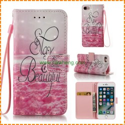 For iPhone 7 3D Painted PU Leather Flip Case, leather case for iPhone 7