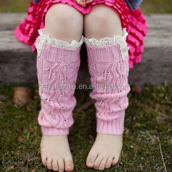 Baby Kids Girl's Crochet Knitted Button Toppers Leg Warmers Lace Trim Boot Cuffs Kids Lace Boot Cuff Socks