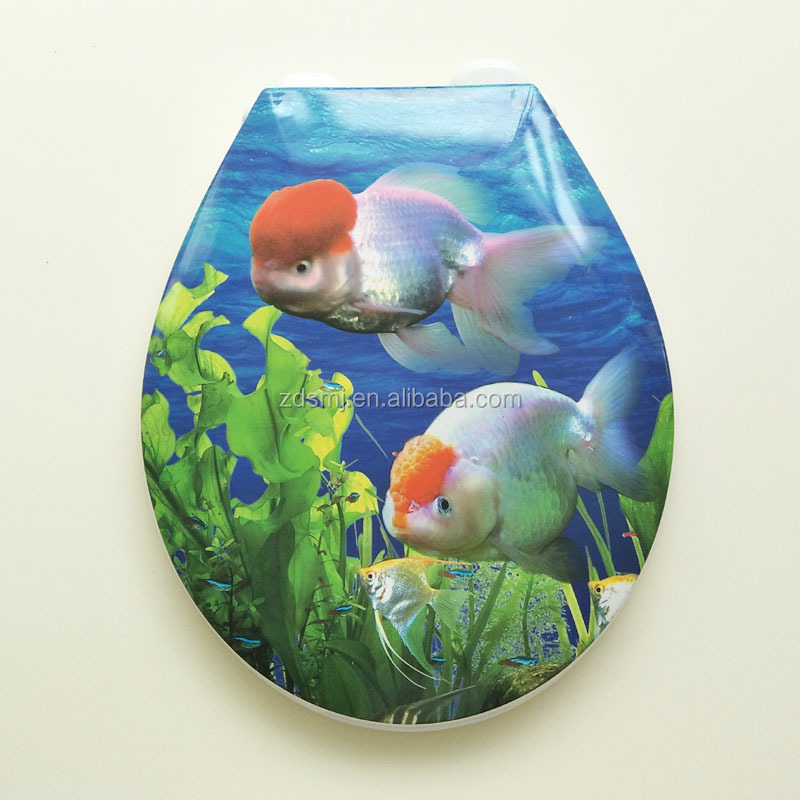 Polypropylene material printed decorative plastic adult toilet seat cover