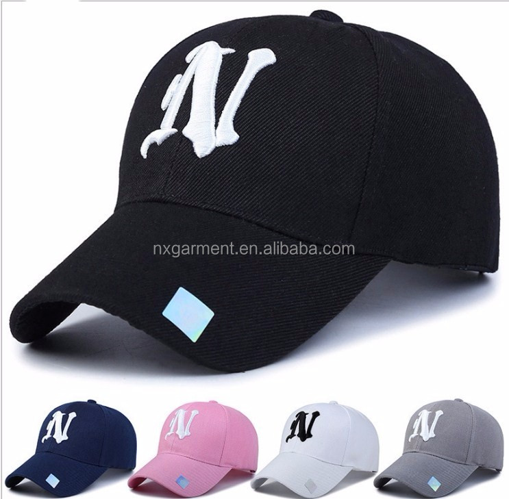 Baseball Cap Solid color leisure hats with <strong>N</strong> letter embroidered cap for men and women