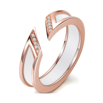 Fashion Stainless Steel Jewelry Inlay Rhinestone Opening Ring For Women