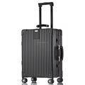 2016 Classic style leather handle silver aluminum frame luggage aluminum suitcase