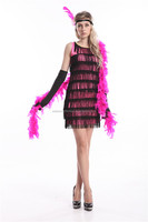 LADIES ROSE FLAPPER 20S THEME CHARLESTON LADIES FANCY DRESS ACCESSORIES COSTUME GIRL
