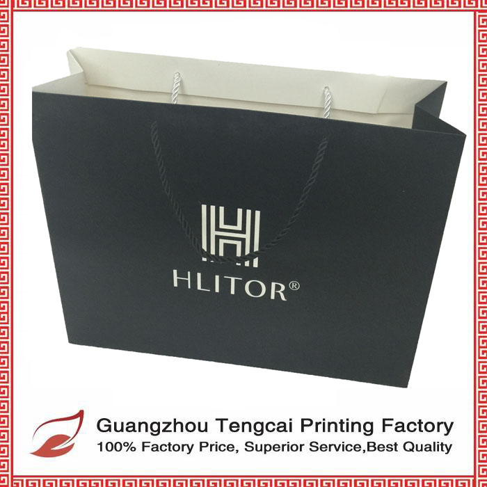 2016 hot selling paper bag gift bag with silver hot stamping logo