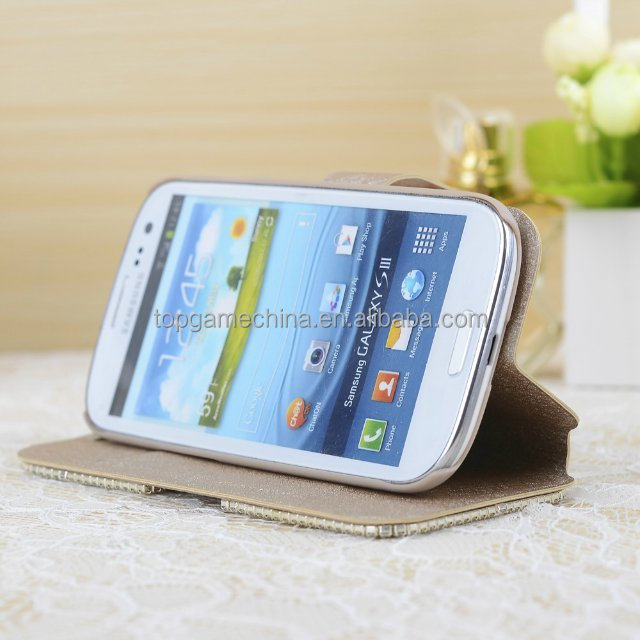 Leather smart folio case cover for samsung galaxy s3 9300 diamond case