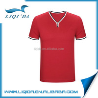 2016 Unique cuff design custom mens red v neck superman t shirt with button