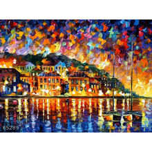 Handmade Modern impressionist Palette knife Landscape oil painting by Leonid Afremov, DREAMS OF GREECE