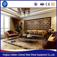Interior decoration material high quality carved embossed faux leather 3d wall panels 3D wall panel decorative wallpaper