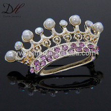 Custome fashion pearl crown gold plated blue crystal brooch pins jewelry fashion 2016