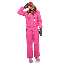 Fashionable Red Ski One Piece Jumpsuit with Many Zippers and Pockets