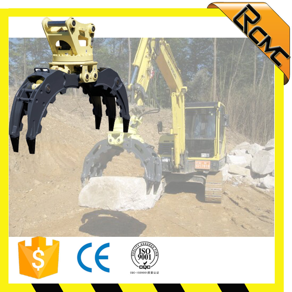hydraulic mechanical excavator rotating grapple for grabbing waste metals