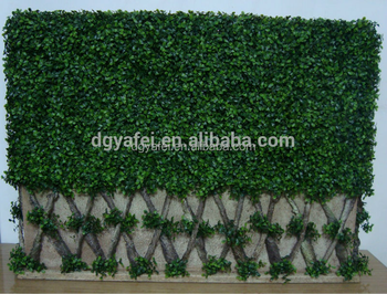 green wall made of plastic fake boxwood hedge with steel frame inside