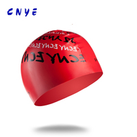 CNYE General letter pattern swimming cap print silicone fashion swimming cap for men women cheap price silicone fashion