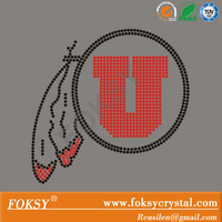 Wholesale Garment Accessory Utah Utes Rhinestone Iron On Transfer/Custom Rhinestone Transfer