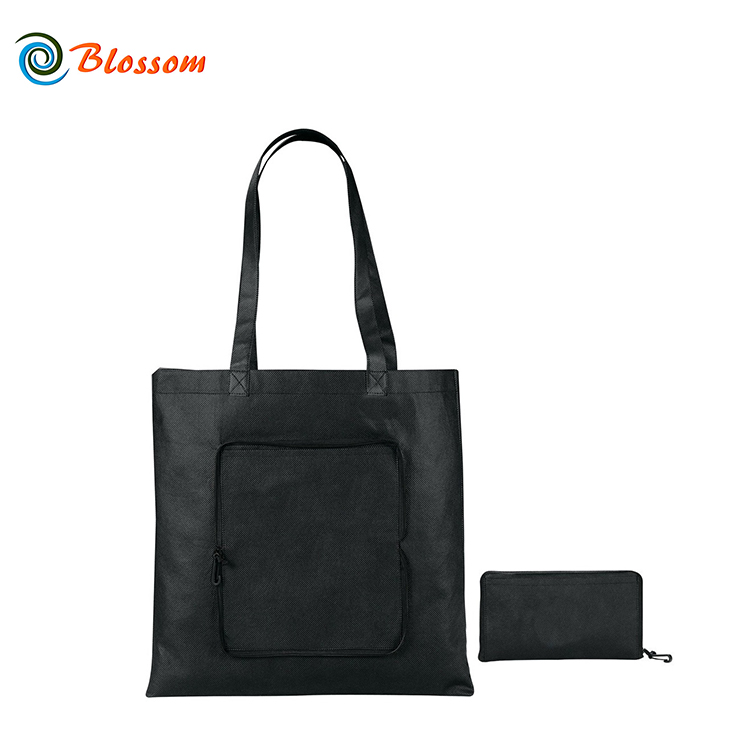 China Manufacture Durable Custom Print Logo Supermarket Foldable Reusable Zipper Tote PP Non Woven Folding Shopping Bag