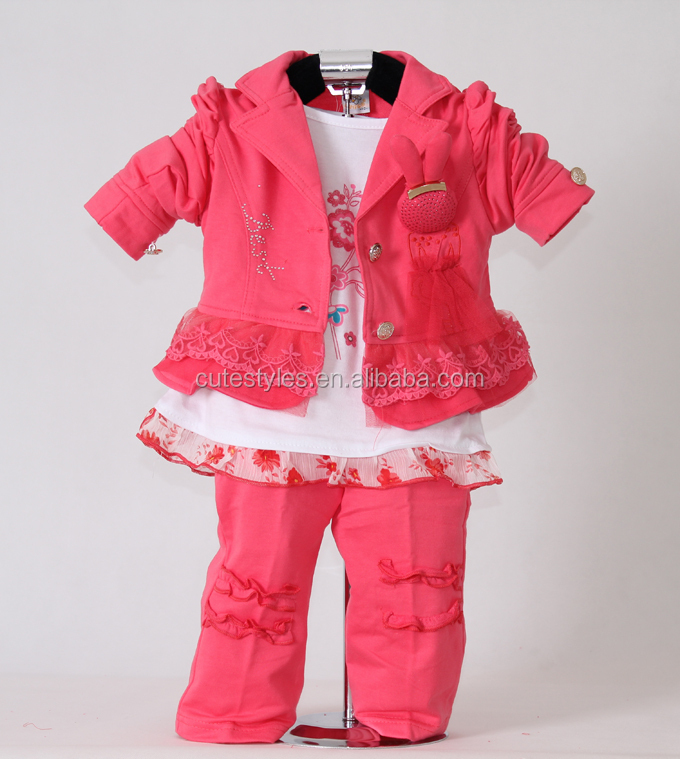 2015 Fashion Girl Clothing Sets Red Jacket With Rabbit Cotton T Shirt And Pants 3 Pcs Kids Outfit For Children Fall Wear Free