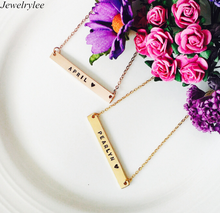 Personalized Name Bar Custom Logo 18K Gold Stainless Steel Bar Pendant <strong>Necklace</strong>