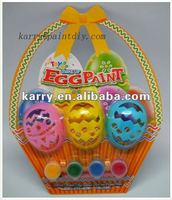 EASTER MAKEUP EGG PAINT 4 COLORS 3 HOLLOW PLASTIC EGGS WITH A PAINTBRUSH NON-TOXIC DIY TOY