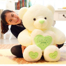 New Year 2017 Lovely Stuffed Toys 60cm Kawaii Teddy Bear Plush Toys with Heart Soft Plush Pillow 100% PP Cotton Toys for Girls