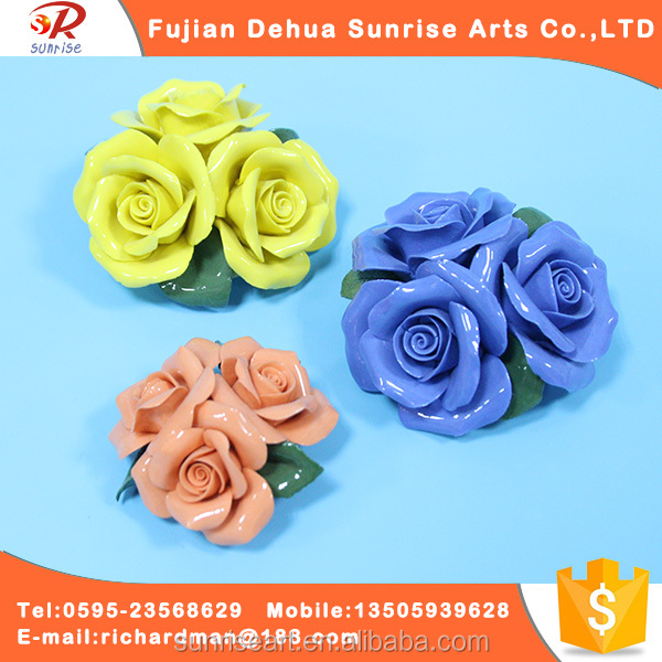 Colorful ceramics conjoined roses flower set for sale