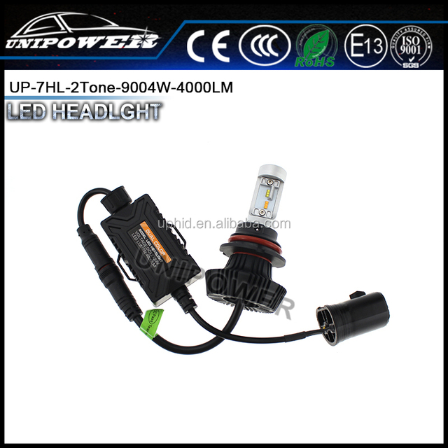 New design dual color 2200k 6500k 9004 G7 auto led headlight bulbs white,amber two colors in one bulb for different weather
