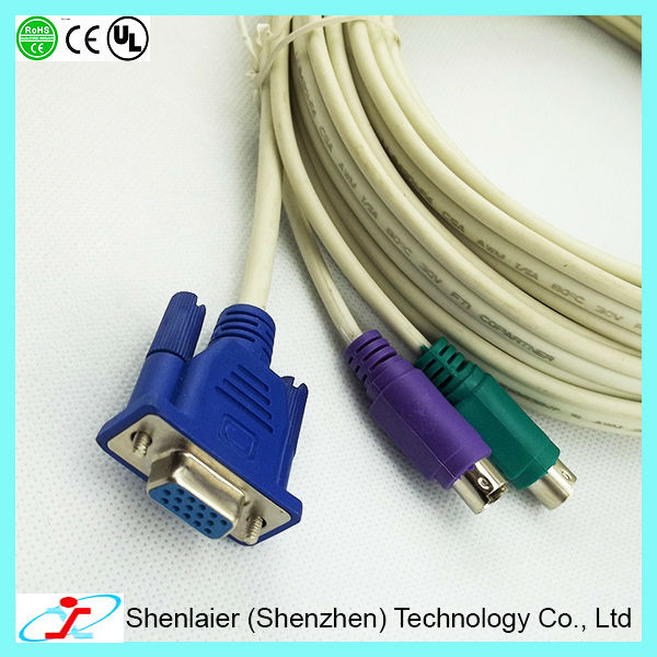 10m VGA Male To Female Cable With PS/2 Male To Male Keyboard Mouse KVM Switch Cable