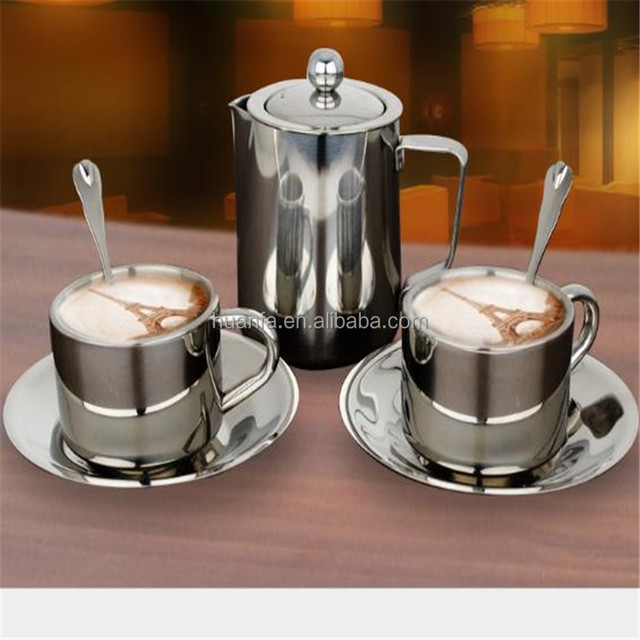 304 Metal 150ml Stainless Steel Double Walled Insulated Coffee Cup Set with Saucer and 20oz Coffee Pot