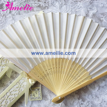 AF1439 White silk hand fan with ivory gift box