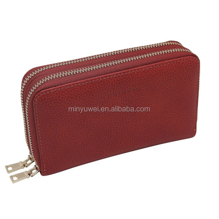 New Fashion Lichee Leather Travel Double Zip Wallet Genuine Cow Leather Women Wallet with Credit Card Holder