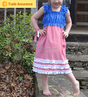 Baby Fashion Girls Long Ruffle Dress With Lace Check Frocks For Kids
