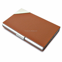 Hot Pu Leather Metal Stainless Steel Frame Business Name ID Cards Organizer Case - Brown