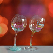 Colorful bending stem drinking red wine glass/glassware
