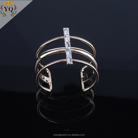 BYQ-00006 fashion simple design gold plated crystal decorated adjustable bangle bracelet for women