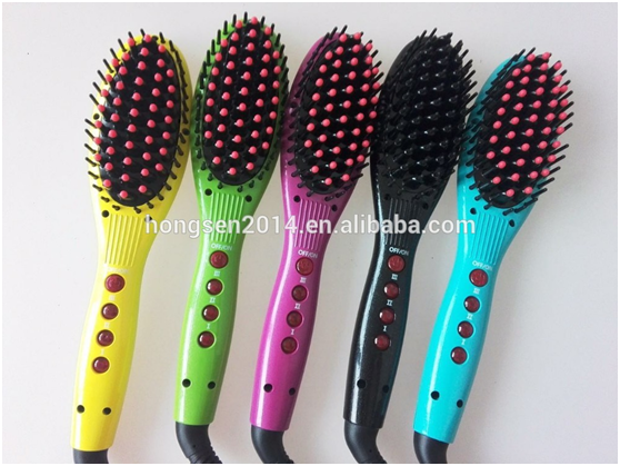 Wholesale hot sales fast PTC heater easy control hair straightener brush with factory price