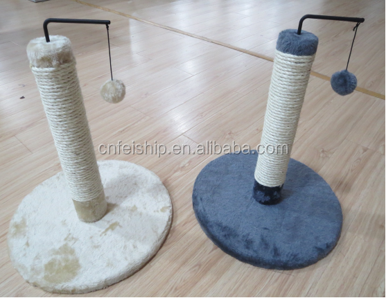 Sisal cat scratching post with teaser toy