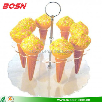 Round shape clear acrylic ice cream cone display holder stand for counter top