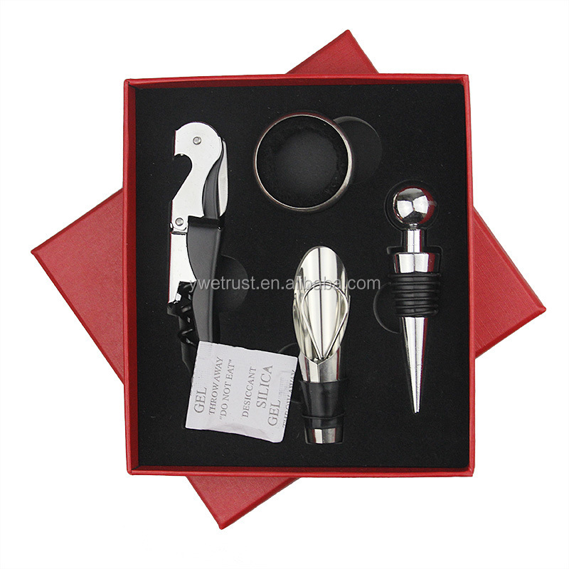 Wine Opener Set with Wine Stoppers, Drip Ring, Foil Cutter and Corkscrew 4Piece Gift Set in Elegant gift box